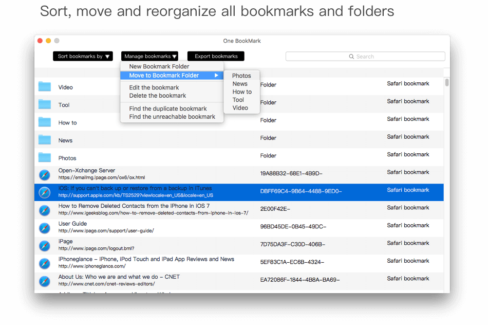 Sort, move and reorganize all bookmarks and folders