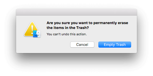 can not empty trash