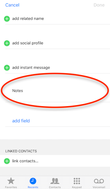 contact notes filed is unavailable on iPhone