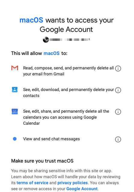 allow macos acess gmail account