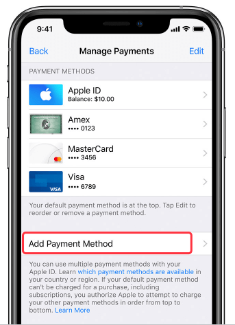 add payment in iPhone