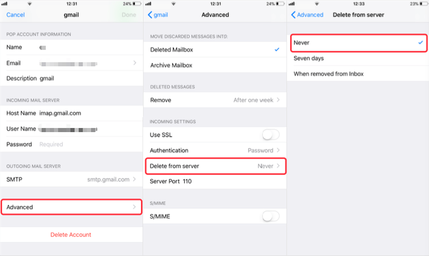 how to delete email on iphone but not server