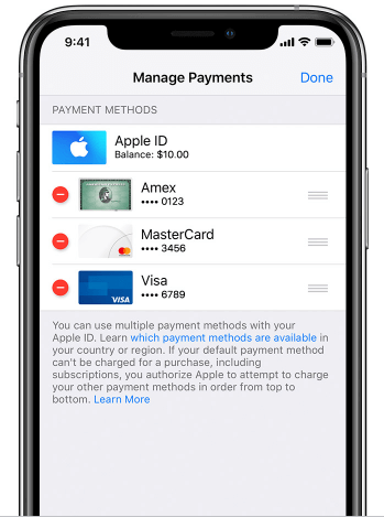 remove payment in iPhone