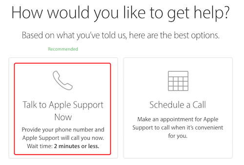 talk to apple support
