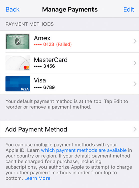 view payment in iPhone