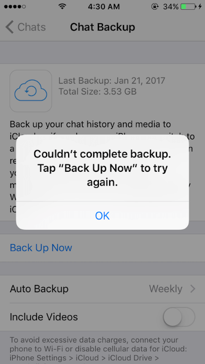 top 6 reasons why WhatsApp can't backups