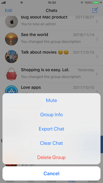 exit WhatsApp group message on iPhone