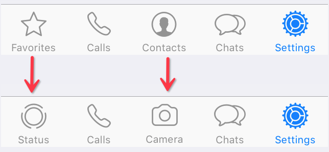 Contacts and Favorites tabs in WhatsApp