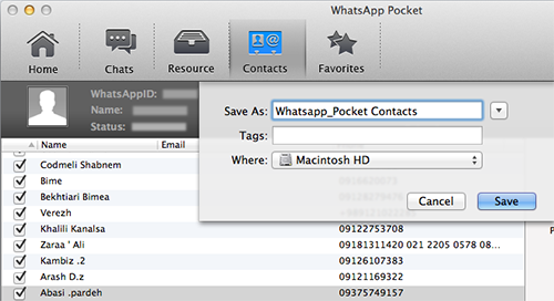 Save WhatsApp Contacts on Mac