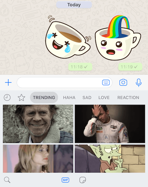 How to use WhatsApp new gif and sticker feature?