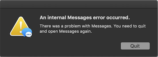 """Solved] """"An internal Messages error occurred"""" in Messages on"""
