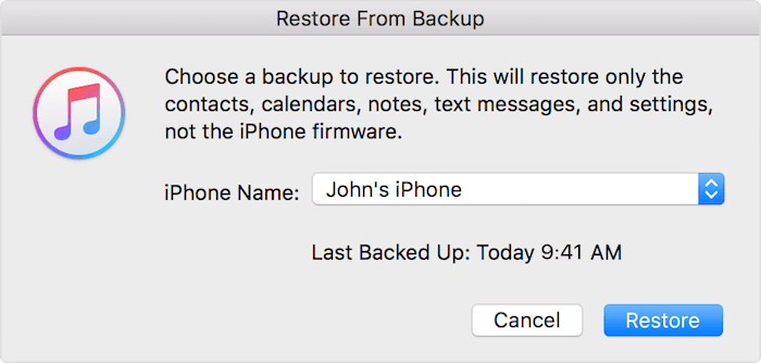 select iTunes backup to restore