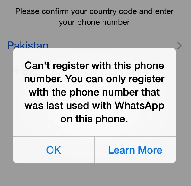 WhatsApp Can't register with this phone number - iPhone